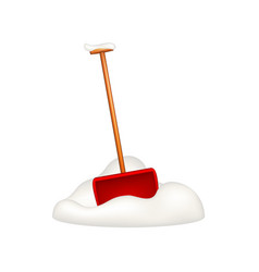 Snow shovel standing in snow vector
