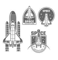 space shuttle design elements and badges vector image