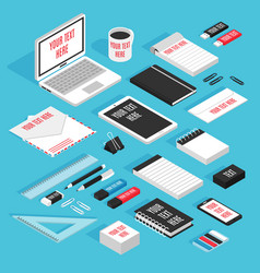 Stationary isometric template mockup set vector