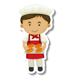 Sticker template with a baker boy holds baked vector