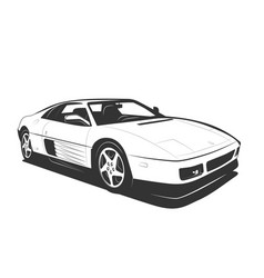 Supercar black white flat design modern sport car vector
