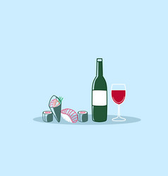 sushi rolls with glass red wine traditional vector image