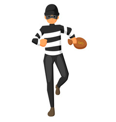 Thief carrying bag money with a dollar sign vector