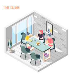 time together isometric composition vector image