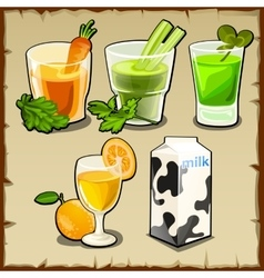 Useful set cocktails from fruit and vegetables vector