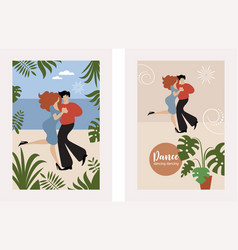 vertical banners with dancing couple vector image