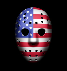 Vintage goalie mask with usa flag vector