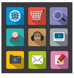 web icon set flat vector image