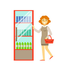 Woman shopping at supermarket and buying products vector