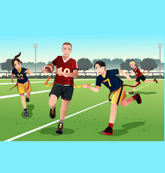 young people playing flag football vector image