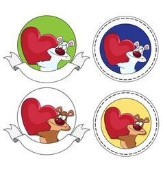 bear and heart banner vector image