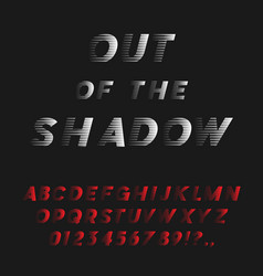 bold italic font coming out of the shadow vector image vector image