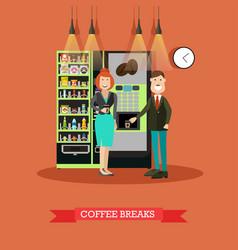 coffee break in flat style vector image vector image