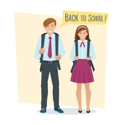 couple of students girl and boy vector image vector image