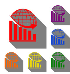 declining graph with earth set of red orange vector image