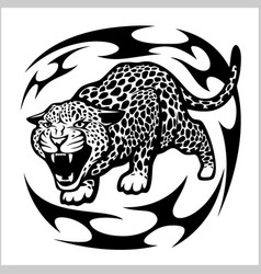 jaguar tribal tattoo vector image