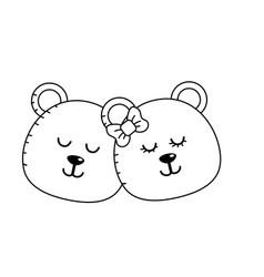 Line cute animal couple bear head together vector