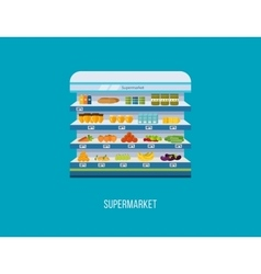 Shop supermarket interior shelf with fruits vector image