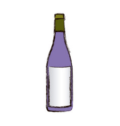 color blurred silhouette with bottle of wine vector image vector image