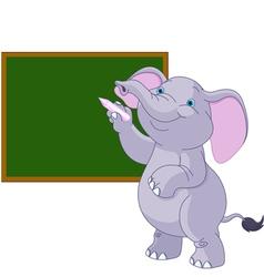 Elephant writing on blackboard vector image