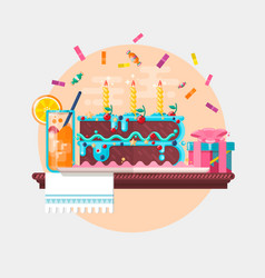 Holiday birthday background with cake present and vector