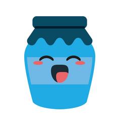 homemade jam bottle cute kawaii cartoon vector image