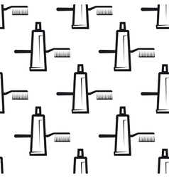 Seamless pattern of toothpaste and brush vector