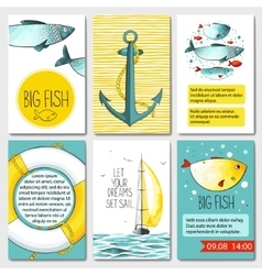 Set of 6 cards templates with sea background vector image