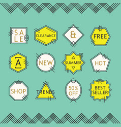 trendy yellow and white line sale emblems set vector image vector image