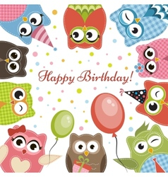 Birdhday card with cute owls vector image vector image