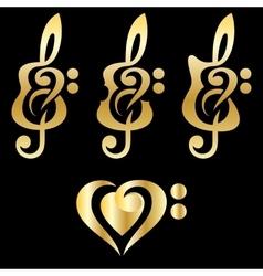 Different golden guitars violin treble clef vector image vector image