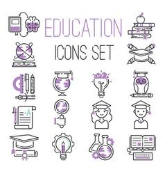 education graduation school outline icons symbols vector image