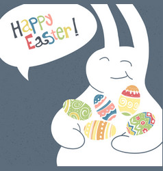 greeting card with with white easter rabbit funny vector image vector image