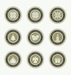round christmas emblem set vector image