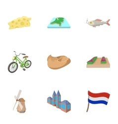 Attractions of Holland icons set cartoon style vector image vector image