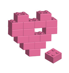 building bricks in 3d missing part of heart vector image