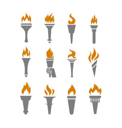 fire torch with flame flat icons set vector image