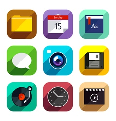 Flat App Icons Set 4 vector image vector image