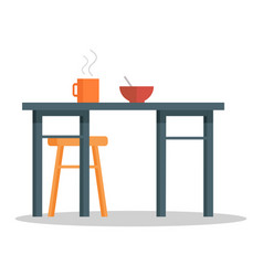 office table with hot coffee cup and bowl of soup vector image vector image