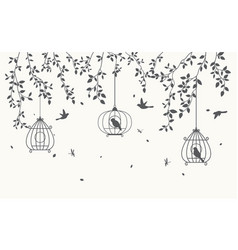 Silhouette leaves background with birdcage vector