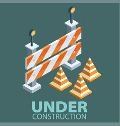 under construction concept in flat isometric vector image vector image