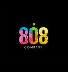 808 number grunge color rainbow numeral digit logo vector