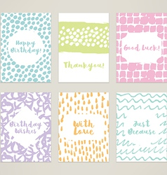 A set of 6 hand-painted minimal cards vector image vector image