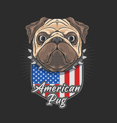 american pug cute cartoon independence vector image