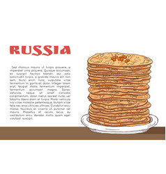 banner with pancakes with red caviar on the table vector image
