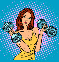 Beautiful woman with dumbbells in gym vector