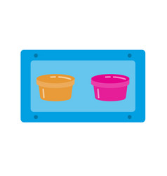 bird food double bowl icon in flat style vector image