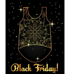 Black friday background golden on black with top vector image