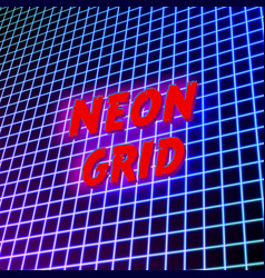 Bright neon grid lines glowing background with 80s vector