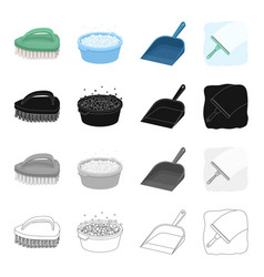 brush for cleaning a bowl with detergent a vector image